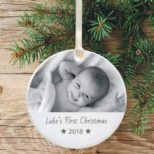 Personalised 1st Christmas Photo Ceramic Keepsake Christmas Tree Decoration - Gift for Grandparents